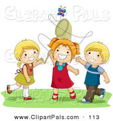 Pal Clipart of a Pair of Girls and a Boy Trying to Catch a Butterfly with a Net by BNP Design Studio