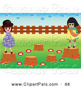 Pal Clipart of a Pair of Girls Playing on Tree Stumps by Mayawizard101