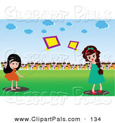 Pal Clipart of a Pair of Girls Playing with Kites in a Field near a Village by Mayawizard101