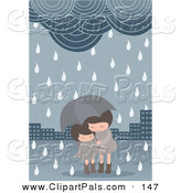 Pal Clipart of a Pair of Girls Under an Umbrella in a Spring Shower by Mayawizard101