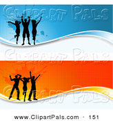 Pal Clipart of a Pair of Grungy Orange and Blue Dancer Website Headers by KJ Pargeter