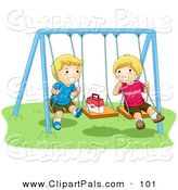 Pal Clipart of a Pair of Happy Boys Playing on Swings by BNP Design Studio