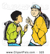 Pal Clipart of a Pair of High School Boys Waving While Passing Each Other by Xunantunich