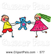 July 22nd, 2013: Pal Clipart of a Pair of Kids - a Boy and Girl Fighting over a Teddy Bear by Prawny