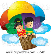 Pal Clipart of a Pair of Kids - a Happy Boy and Girl in a Hot Air Balloon by Lal Perera