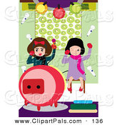 Pal Clipart of a Pair of Little Girls Having Fun While Singing Karaoke by Mayawizard101