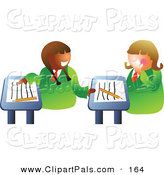 Pal Clipart of a Pair of School Girls Chatting at Their Desks in Class by Prawny