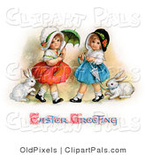 Pal Clipart of a Pair of Sisters Walking Their Pet Rabbits on Leashes and Carrying Parasols on Easter by OldPixels