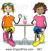 Pal Clipart of a Pair of Stick Girls Sitting at a Table by BNP Design Studio