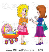 Pal Clipart of a Pair of Two Women Chatting by a Baby by Alex Bannykh