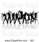 Pal Clipart of a Partying Group of Silhouetted Dancers and Reflections on White by KJ Pargeter