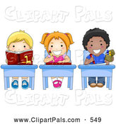 July 5th, 2013: Pal Clipart of a Picture of Diverse, Colorful Diverse School Kids Doing Work at Their School Desks by BNP Design Studio