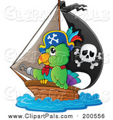 Pal Clipart of a Pirate Parrot Sailing in a Ship by Visekart