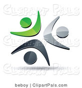 Pal Clipart of a Pre-Made Logo of Three Green, Silver and Black People Celebrating or Dancing by Beboy