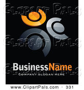 Pal Clipart of a Pre-Made Logo of Three Orange and Chrome People in a Circle, Above Space for a Business Name and Company Slogan on Black by Beboy