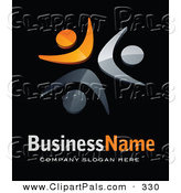 Pal Clipart of a Pre-Made Logo of Three Orange and Gray People, Above Space for a Business Name and Company Slogan on Black by Beboy