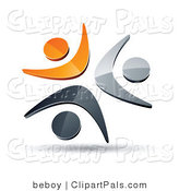 Pal Clipart of a Pre-Made Logo of Three Orange, Chrome and Black People Icons Celebrating or Dancing by Beboy