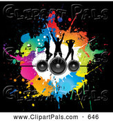 September 21st, 2013: Pal Clipart of a Pretty Background of Silhouetted Dancers on Speakers over Colorful Splatters on Black by KJ Pargeter