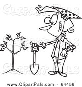 Pal Clipart of a Proud Girl After Planting Tree with Shoval - Black Outline by Ron Leishman