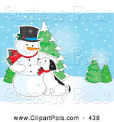 Pal Clipart of a Puppy Cuddling Against a Cold Snowman in a Winter Landscape by Maria Bell