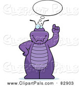 Pal Clipart of a Purple Bug Talking and Holding up a Finger by Cory Thoman