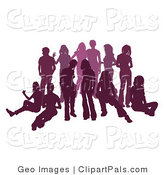 Pal Clipart of a Purple Group of Silhouetted People Hanging out and Relaxing in a Crowd by AtStockIllustration