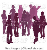 Pal Clipart of a Purple Group of Silhouetted People Hanging out in a Crowd, Two Friends Embracing in the Center by AtStockIllustration