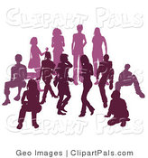 Pal Clipart of a Purple Group of Silhouetted People Hanging out Together in a Crowd by AtStockIllustration