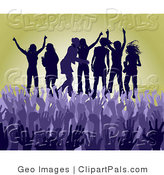 Pal Clipart of a Purple Group of Silhouetted Women Raising Their Arms and Celebrating on Stage at a Concert in Front of a Crowd of Hands by AtStockIllustration