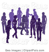 Pal Clipart of a Purple Party Group of Silhouetted People Hanging out in a Crowd, Two Friends Hugging by AtStockIllustration