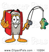 Pal Clipart of a Red Book Mascot Holding a Fish on a Fishing Pole by Toons4Biz