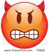 September 27th, 2015: Pal Clipart of a Red Bully Devil Cartoon Emoticon Face by Beboy