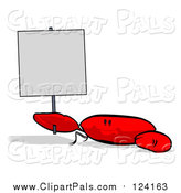 Pal Clipart of a Red Crab Holding up a Sign by Julos