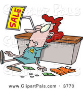 Pal Clipart of a Red Haired White Female Store Employee Trampled During a Sale by Toonaday