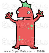 Pal Clipart of a Red Monster or Alien Shouting by Lineartestpilot