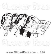 Pal Clipart of a Retro Black and White Housewife Women Reading an Advertisement by BestVector