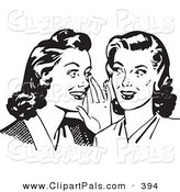 Pal Clipart of a Retro Black and White Housewife Women Whispering Gossip by BestVector