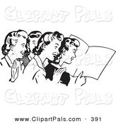 Pal Clipart of a Retro Black and White Outline of Women Reading a Book by BestVector
