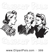 Pal Clipart of a Retro Black and White Outline of Women Sitting and Chatting by BestVector