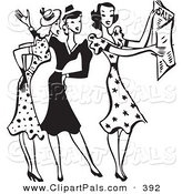 Pal Clipart of a Retro Black and White Outlined Group of Women Discussing Sale Ads by BestVector
