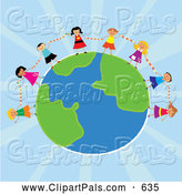 Pal Clipart of a Ring of Diverse Kids Holding Hands Around a Globe over Blue Rays by