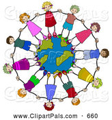 Pal Clipart of a Ring of Happy Diverse Stick Children Holding Hands and Standing on a Globe by BNP Design Studio