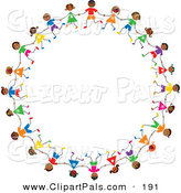 Pal Clipart of a Ring of Hispanic Stick Children by Prawny