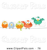 Pal Clipart of a Row of Cute Colorful Birds on a Wire by Qiun