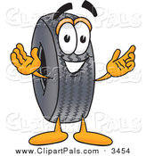 Pal Clipart of a Rubber Tire Mascot Welcoming by Toons4Biz