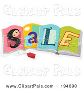 Pal Clipart of a Sales Tag and Womans Face S Spelling SALE on Open Books by BNP Design Studio