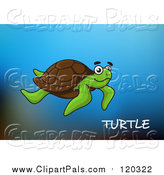 Pal Clipart of a Sea Turtle and Text over Blue by Vector Tradition SM