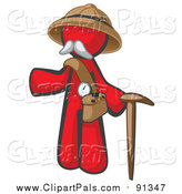 Pal Clipart of a Senior Red Man Explorer with a Pack and Cane by Leo Blanchette