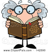 Pal Clipart of a Senior Science Professor Reading a Book by Hit Toon