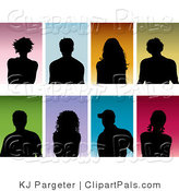 Pal Clipart of a Set of Eight Black Silhouetted Men and Women on Colorful Backgrounds by KJ Pargeter